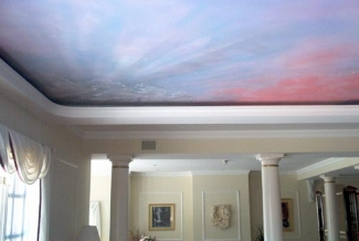 hand painted sky ceiling mural