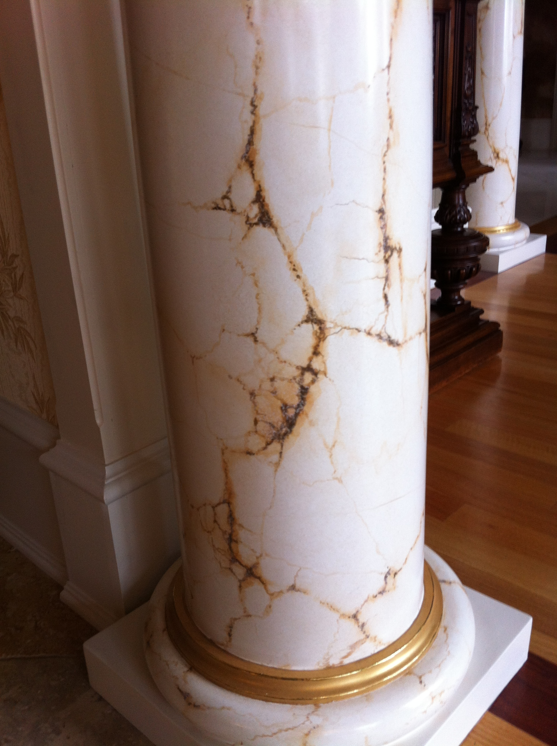 Faux Painted Marble Column & Gilded ring, CT. Client