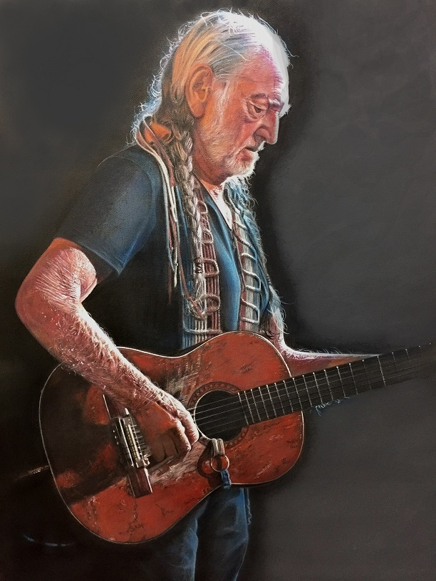 Willie Nelson portrait by Marc Potocsky Mural Artist CT