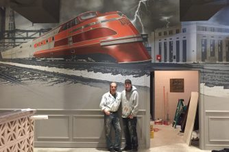Train Mural for Nolo Restaurant in New Haven CT MJP Studios Marc Potocsky