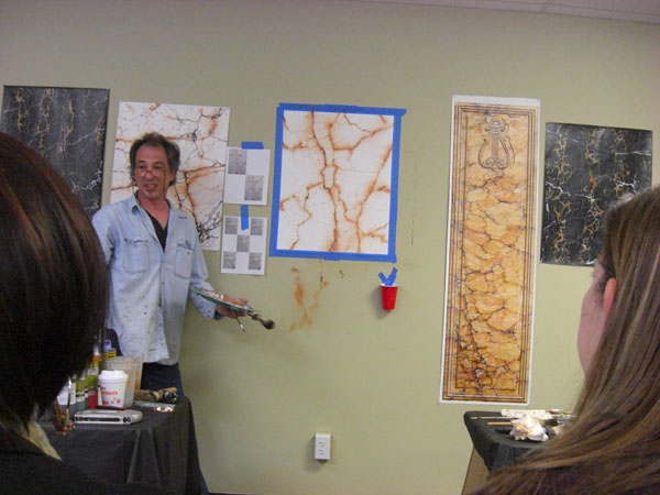 Faux Marble class demo, CT decorative painter, Marc Potocsky owner of MJP Studios