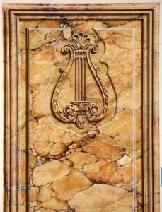 Faux painted Yellow sienna marble-Trompe loeil molding and ornament - Marc Potocsky CT
