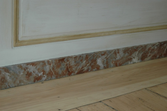 Faux Marble Floor 19th Century Rococo Carved Console With