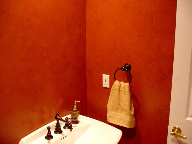 Red high polish venetian plaster with movement