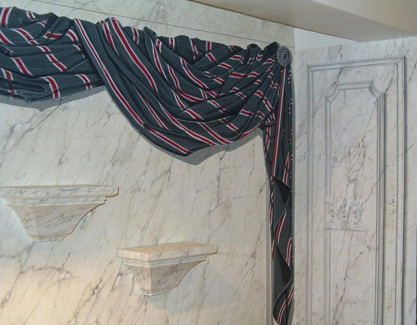 Trompe loeil Drapery Faux painted marble NY CT