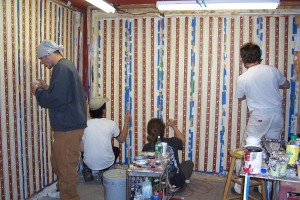 Hand painting boarder in the studio