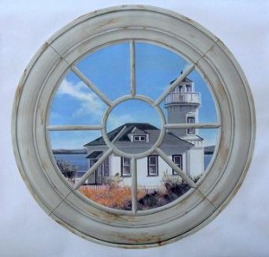 Decorative painting CT Trompe loeil mural new england window - mjp Studios Greenwich CT