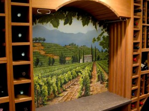 Decorative painting CT wine cellar mural mjp studios ny