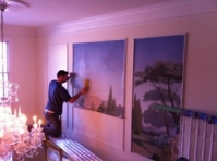 Murals CT Zuber Wallpaper Mural - Mike Sundell installing canvas mjp studios