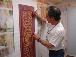 Faux wood and Trompe ornament  Panel - CT. Decorative Painter  Marc Potocsky