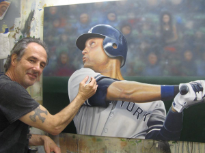 Ct Artist Marc Potocsky working on Jeter painting