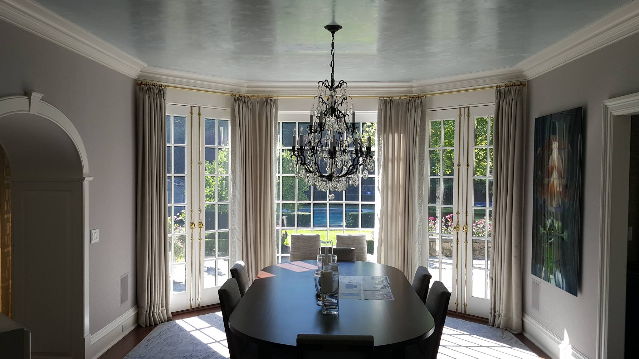 Venetian Plaster ceiling dining room Greenwhich CT mjp studios for designer Robin McGarry interiors