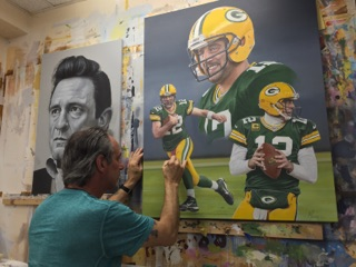 Arron Rogers Portraits in progress by Marc Potocsky CT sports Artist NYC (3)