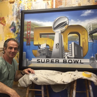 Marc Potocsky painting of the NFL 50th superbowl CT NY