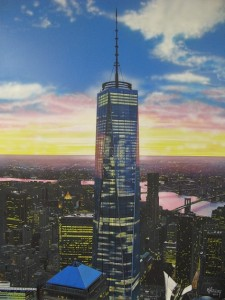 freedom tower one world trade fine art painting nyc by CT Artist Marc Potocsky mjp