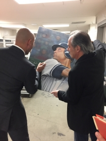 Derek Jeter signing Painting by CT Artist Marc Potocsky for CT Cancer Foundation