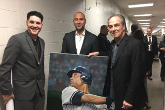 Dave Potts, Derek Jeter, CT Artist Marc Potocsky at CT Cancer foundation event at Mohegan Sun