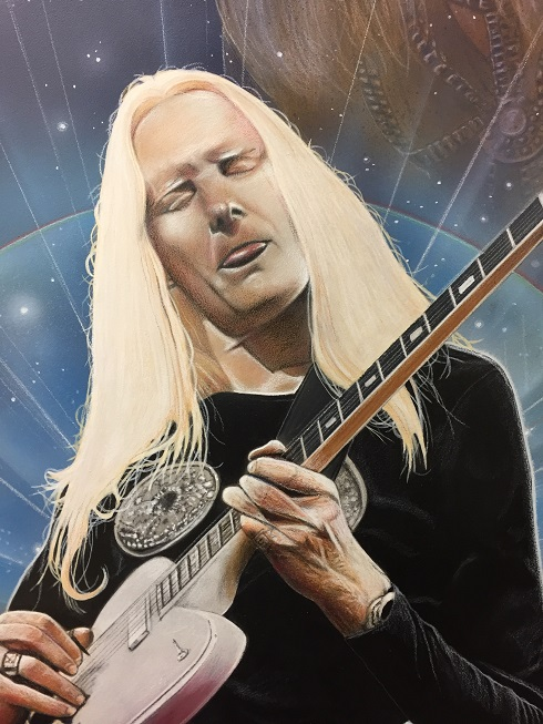 Johnny Winter Art by CT Artist Marc Potocsky aka Moe Potts 1 Detail