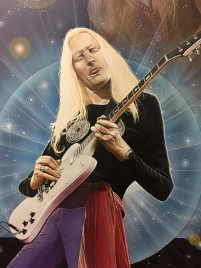 Johnny Winter Art by CT Artist Marc Potocsky aka Moe Potts - (1) Detail