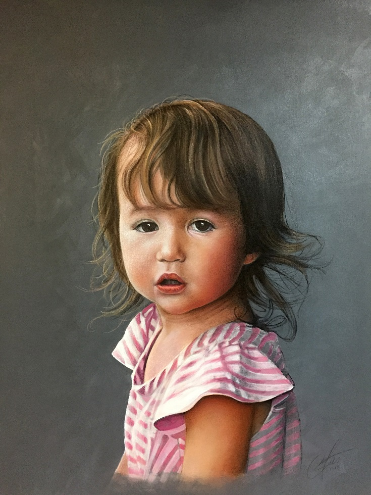 Childs painted Portrait CT by CT artist Marc Potocsky