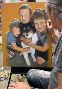 3 Brothers and their dog CT Portrait artist Marc Potocsky